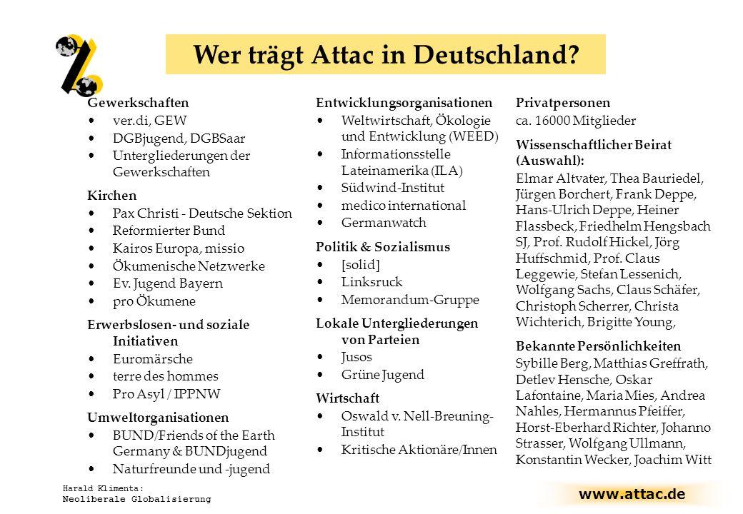 www.attac.de Harald Klimenta: Neoliberale Globalisierung Wer trägt Attac in Deutschland? Gewerkschaften ver.di, GEW DGBjugend, DGBSaar Untergliederung