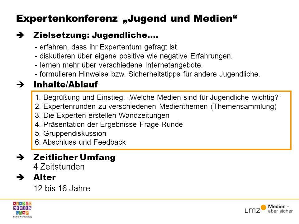 Inhalte/Ablauf Zeitlicher Umfang 4 Zeitstunden Alter 12 bis 16 Jahre Expertenkonferenz Jugend und Medien 1. Begrüßung und Einstieg: Welche Medien sind
