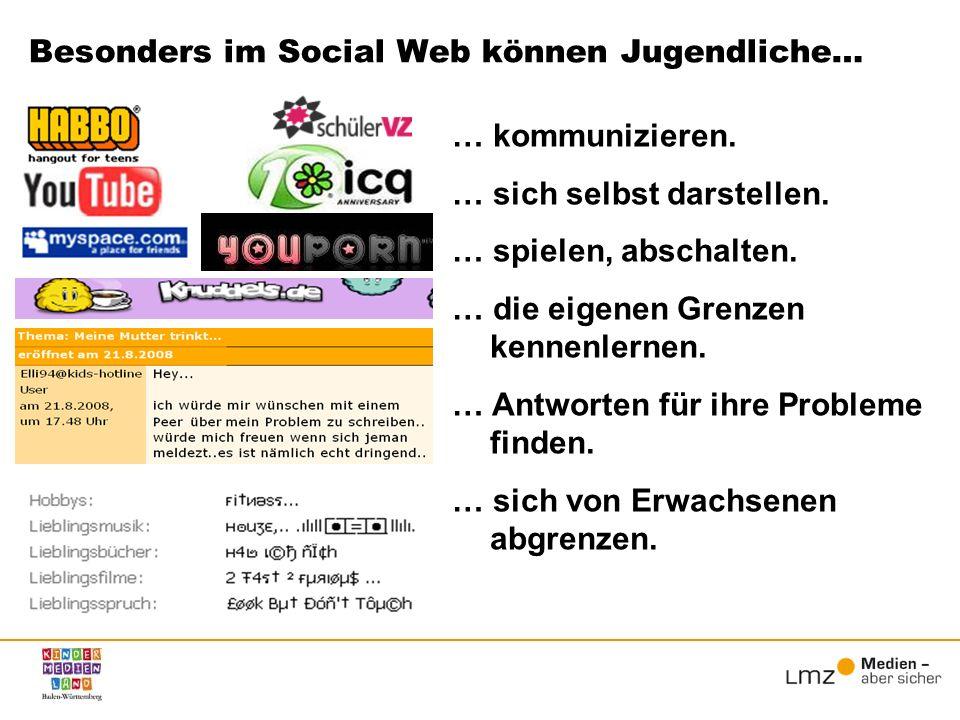 Besonders im Social Web können Jugendliche… … kommunizieren. … sich selbst darstellen. … spielen, abschalten. … die eigenen Grenzen kennenlernen. … An