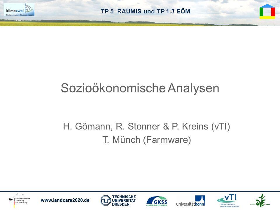 www.landcare2020.de TP 5 RAUMIS und TP 1.3 EÖM Sozioökonomische Analysen H. Gömann, R. Stonner & P. Kreins (vTI) T. Münch (Farmware)