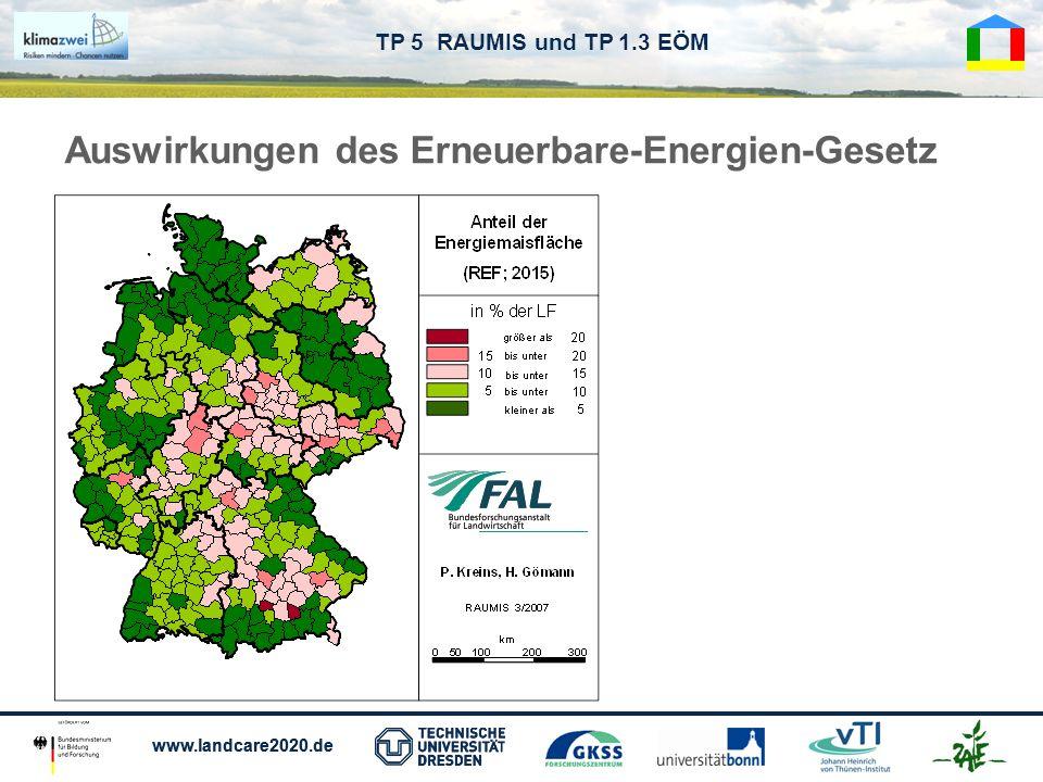 www.landcare2020.de TP 5 RAUMIS und TP 1.3 EÖM Auswirkungen des Erneuerbare-Energien-Gesetz