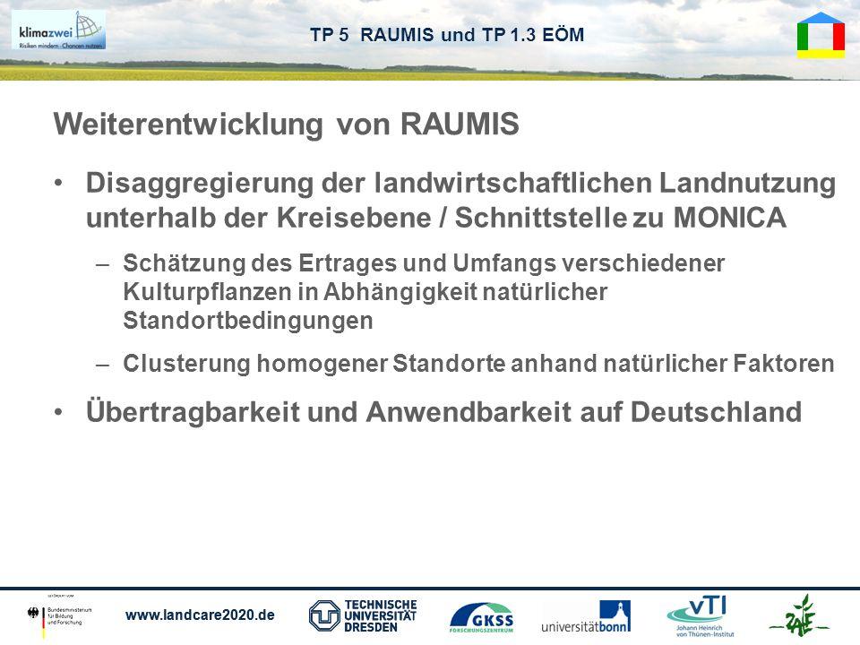 www.landcare2020.de TP 5 RAUMIS und TP 1.3 EÖM Weiterentwicklung von RAUMIS Disaggregierung der landwirtschaftlichen Landnutzung unterhalb der Kreiseb