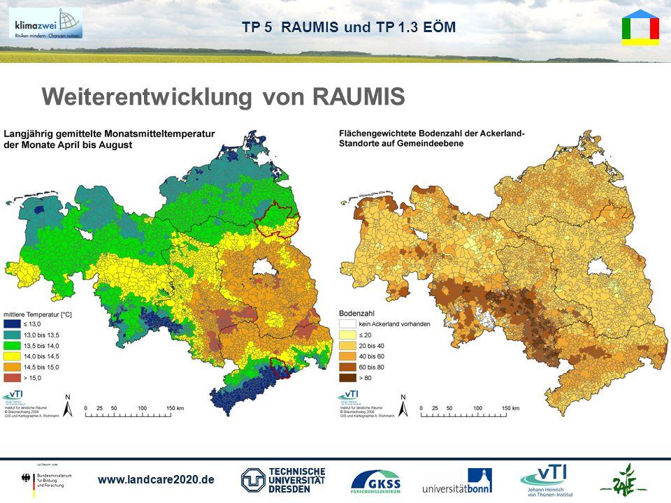 www.landcare2020.de TP 5 RAUMIS und TP 1.3 EÖM Weiterentwicklung von RAUMIS