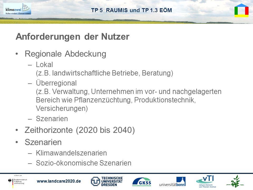 www.landcare2020.de TP 5 RAUMIS und TP 1.3 EÖM Regionale Abdeckung –Lokal (z.B. landwirtschaftliche Betriebe, Beratung) –Überregional (z.B. Verwaltung