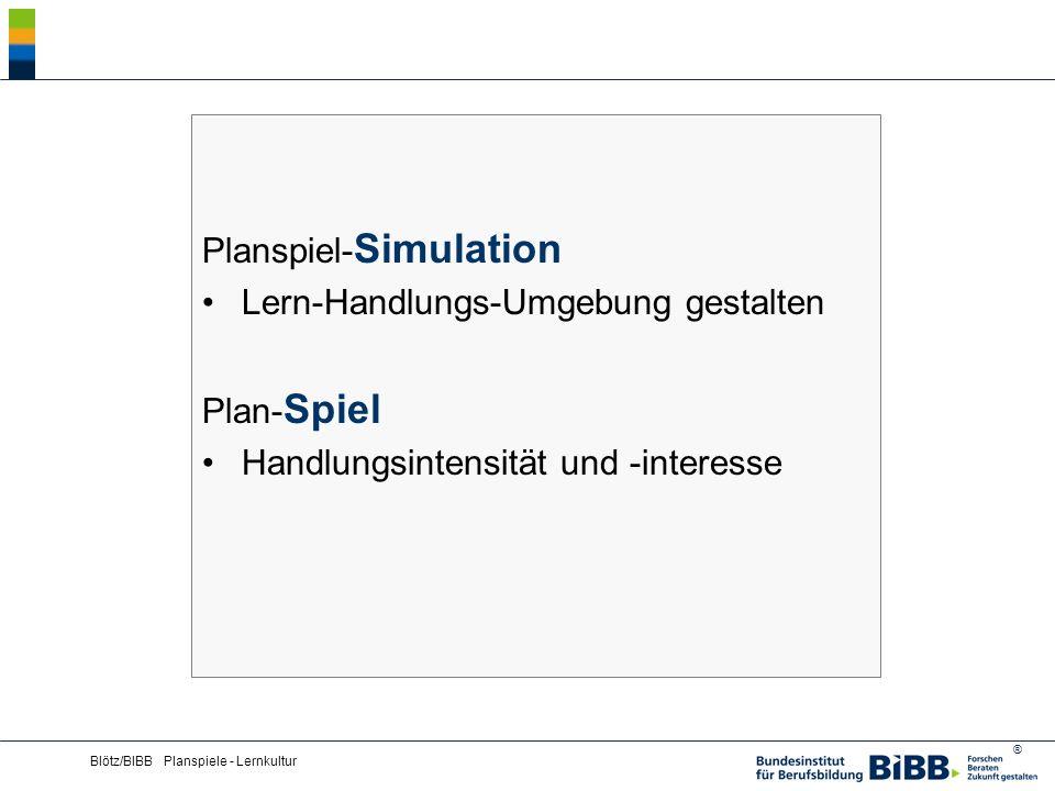 ® Blötz/BIBB Planspiele - Lernkultur Planspielkonfigurationen Beispiele für typische Planspielangebote aus BIBB-Modellversuchen und -projekten