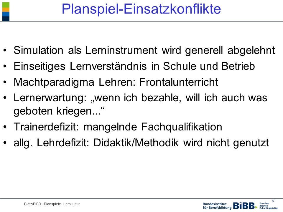 ® Blötz/BIBB Planspiele - Lernkultur Planspiel-Einsatzkonflikte Simulation als Lerninstrument wird generell abgelehnt Einseitiges Lernverständnis in S