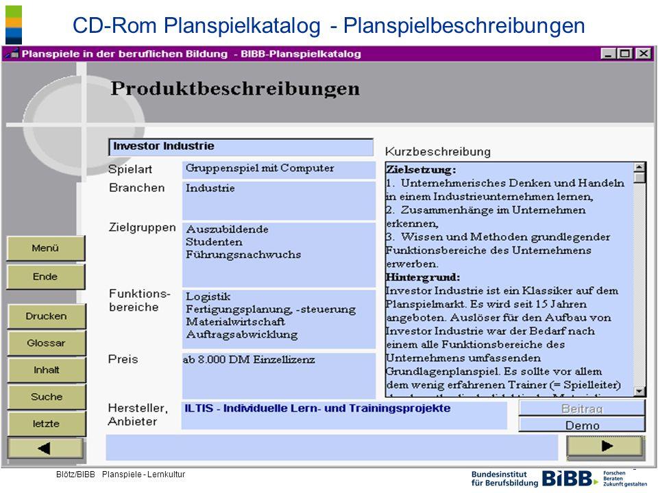 ® Blötz/BIBB Planspiele - Lernkultur CD-Rom Planspielkatalog - Planspielbeschreibungen