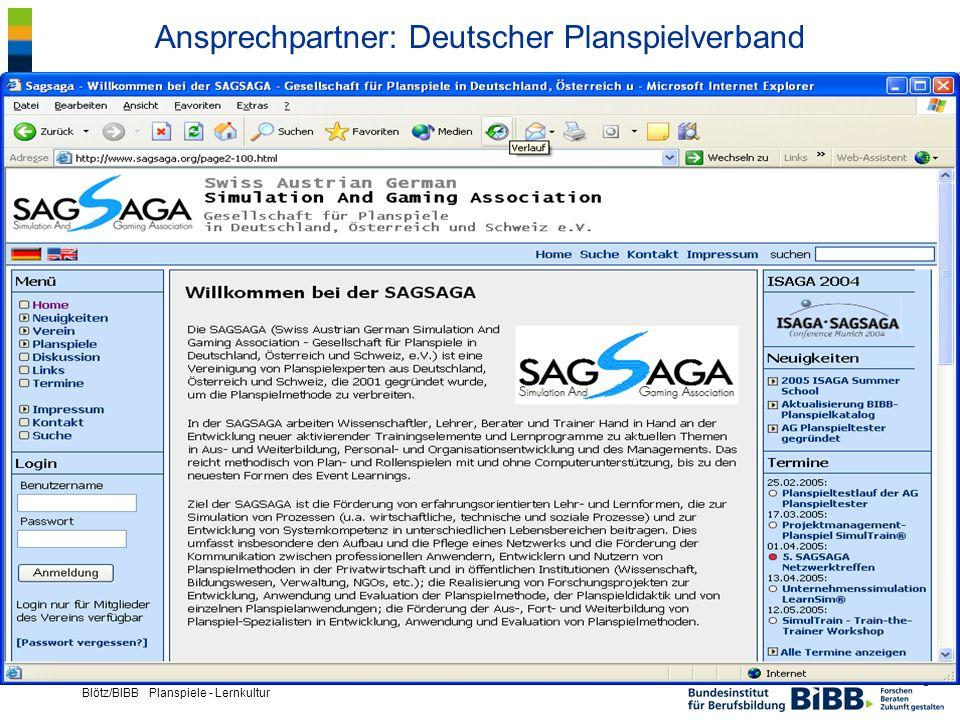 ® Blötz/BIBB Planspiele - Lernkultur Ansprechpartner: Deutscher Planspielverband