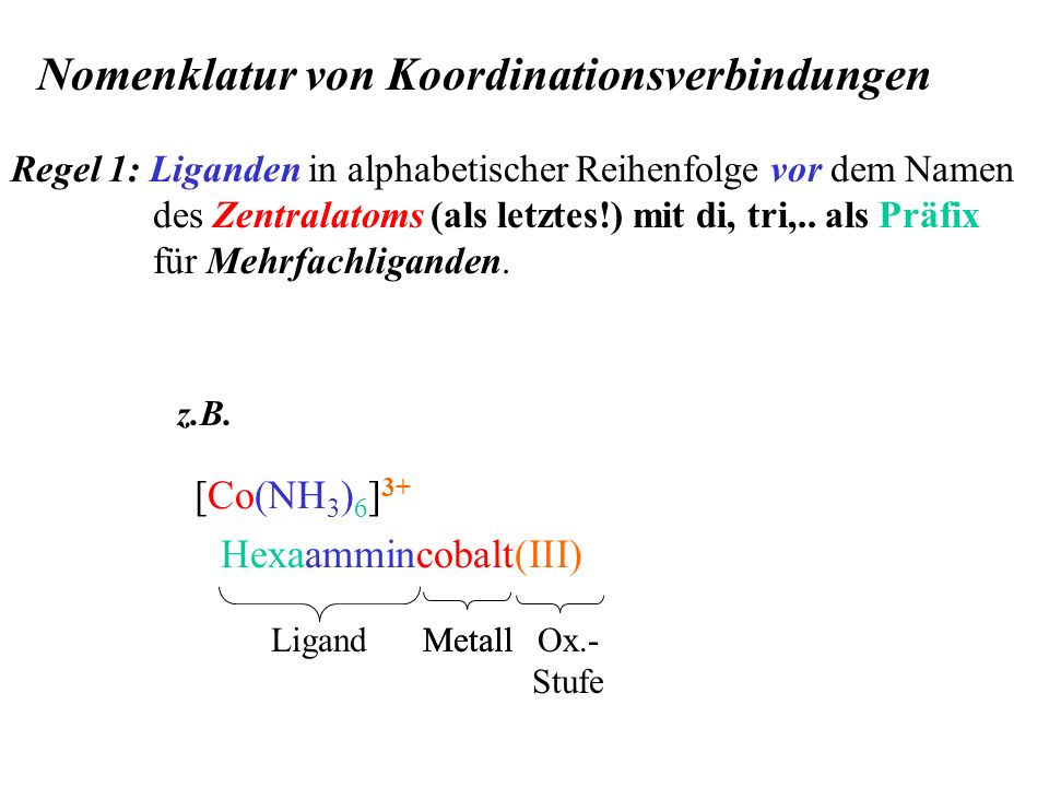 Nomenklatur von Koordinationsverbindungen Regel 1: Liganden in alphabetischer Reihenfolge vor dem Namen des Zentralatoms (als letztes!) mit di, tri,..