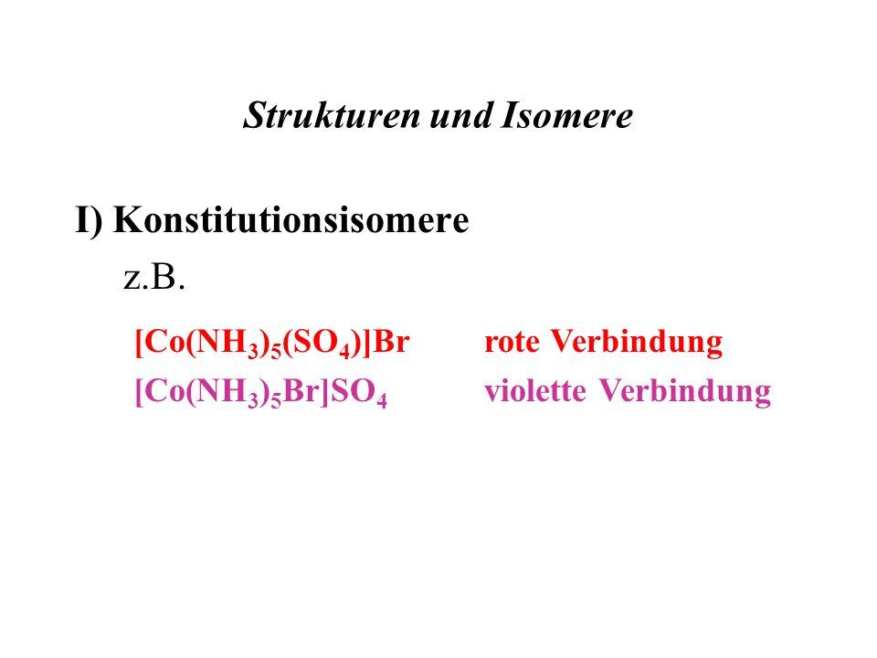 Strukturen und Isomere I) Konstitutionsisomere z.B. [Co(NH 3 ) 5 (SO 4 )]Brrote Verbindung [Co(NH 3 ) 5 Br]SO 4 violette Verbindung
