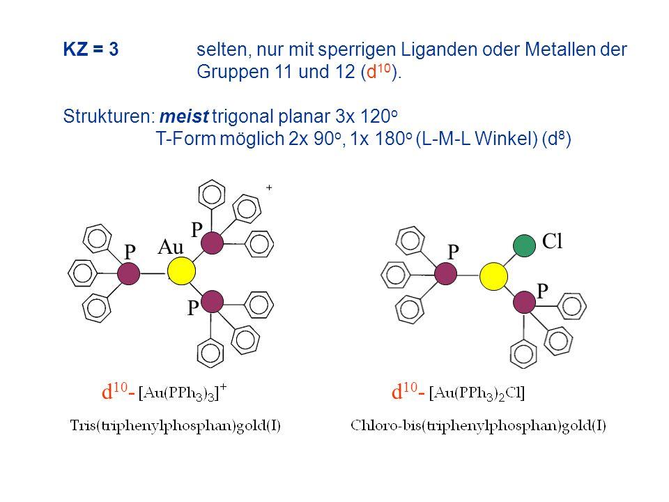 KZ = 3selten, nur mit sperrigen Liganden oder Metallen der Gruppen 11 und 12 (d 10 ). Strukturen: meist trigonal planar 3x 120 o T-Form möglich 2x 90