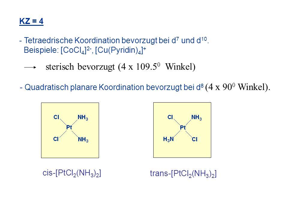 KZ = 4 - Tetraedrische Koordination bevorzugt bei d 7 und d 10. Beispiele: [CoCl 4 ] 2-, [Cu(Pyridin) 4 ] + cis-[PtCl 2 (NH 3 ) 2 ] trans-[PtCl 2 (NH