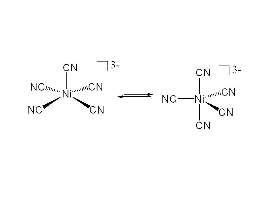 Trigonal-bipyramidale Koordination Beispiele: [CuCl 5 ] 3-, [MnCl 5 ] 2-, [Pt(SnCl 3 ) 5 ] 3-, [Fe(CO) 5 ]