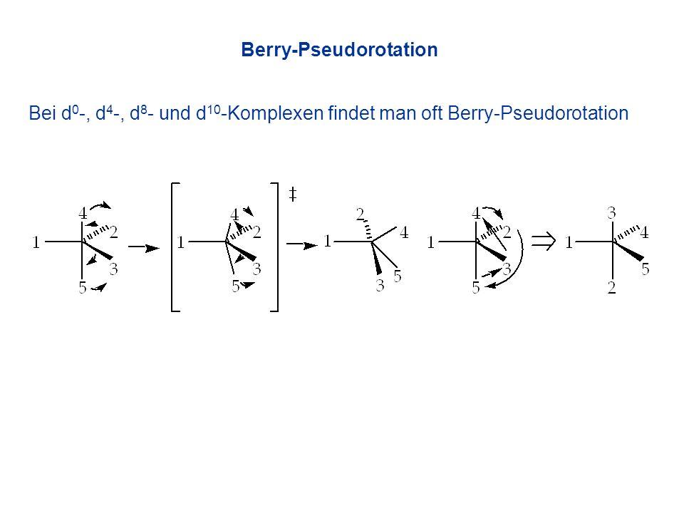 Bei d 0 -, d 4 -, d 8 - und d 10 -Komplexen findet man oft Berry-Pseudorotation Berry-Pseudorotation