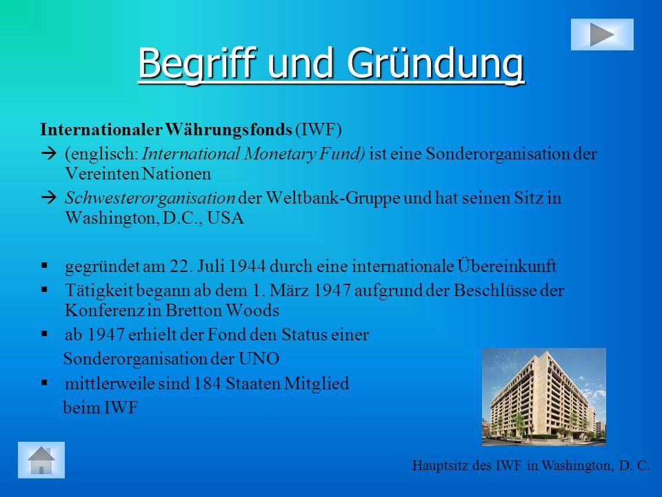 Begriff und Gründung Internationaler Währungsfonds (IWF) (englisch: International Monetary Fund) ist eine Sonderorganisation der Vereinten Nationen Sc