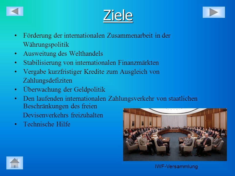 Ziele Förderung der internationalen Zusammenarbeit in der Währungspolitik Ausweitung des Welthandels Stabilisierung von internationalen Finanzmärkten