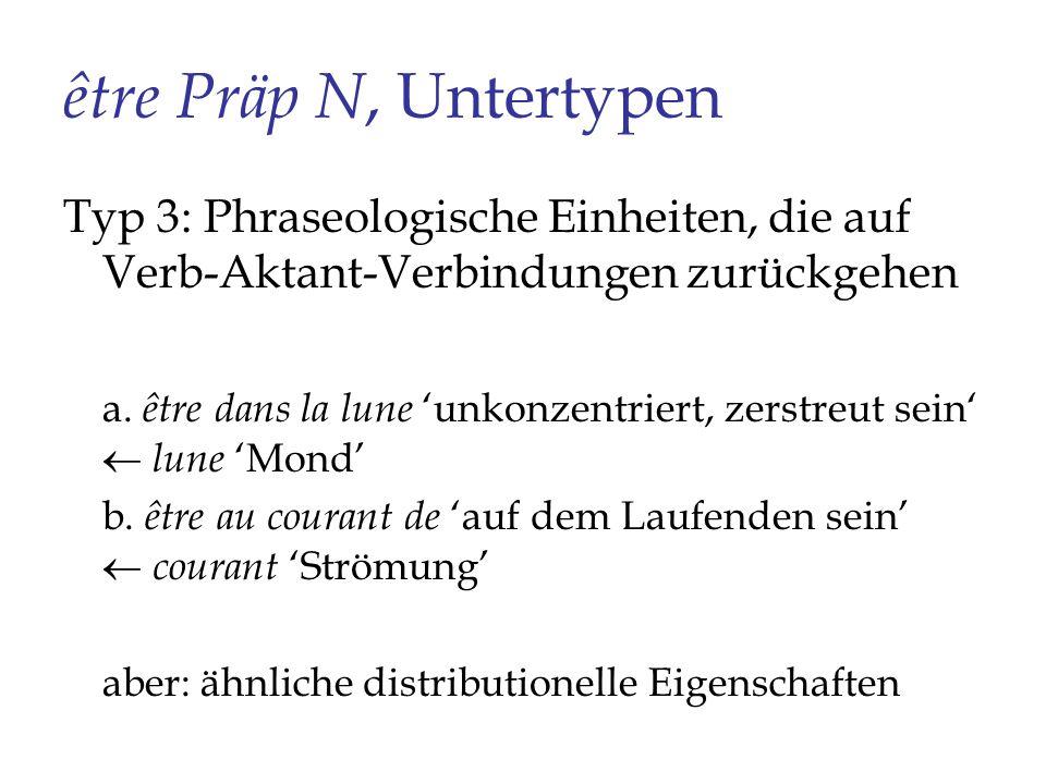 être Präp N, Untertypen Typ 3: Phraseologische Einheiten, die auf Verb-Aktant-Verbindungen zurückgehen a. être dans la lune unkonzentriert, zerstreut