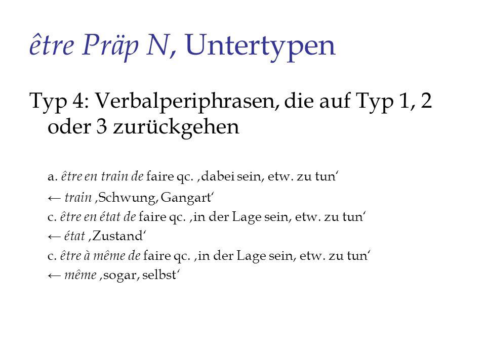 être Präp N, Untertypen Typ 4: Verbalperiphrasen, die auf Typ 1, 2 oder 3 zurückgehen a. être en train de faire qc. dabei sein, etw. zu tun train Schw