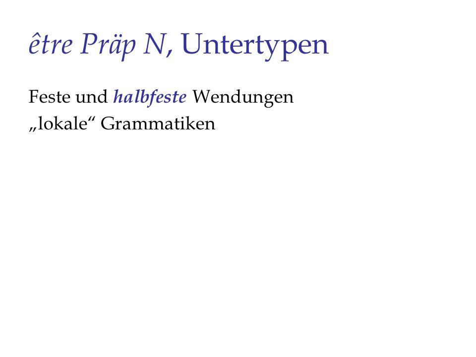 être Präp N, Untertypen Feste und halbfeste Wendungen lokale Grammatiken