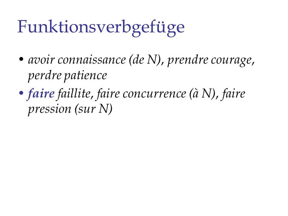 Funktionsverbgefüge avoir connaissance (de N), prendre courage, perdre patience faire faillite, faire concurrence (à N), faire pression (sur N) être en alerte, être en révolte (contre N), se remettre sur pied, rester sous (le) contrôle (de)
