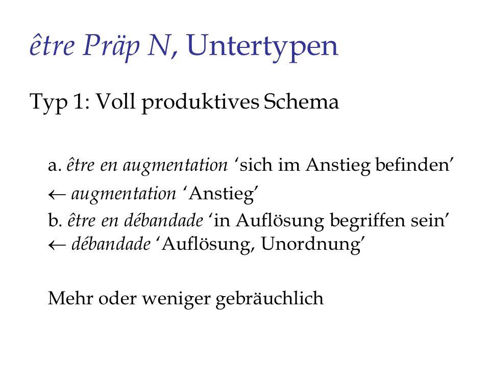 être Präp N, Untertypen Typ 1: Voll produktives Schema a. être en augmentation sich im Anstieg befinden augmentation Anstieg b. être en débandade in A
