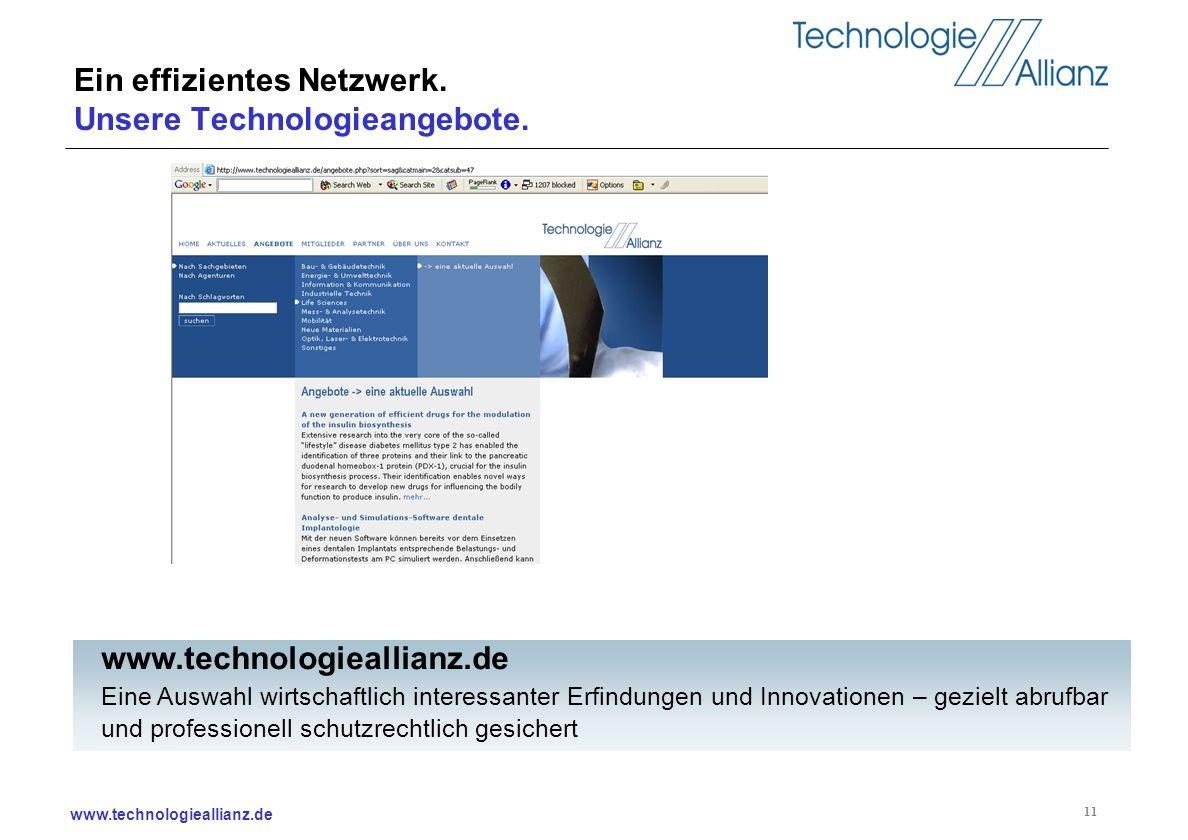 www.technologieallianz.de 11 Ein effizientes Netzwerk. Unsere Technologieangebote. www.technologieallianz.de Eine Auswahl wirtschaftlich interessanter