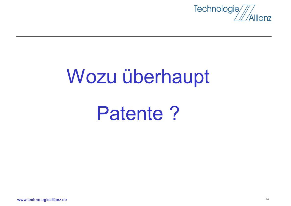 www.technologieallianz.de 14 Wozu überhaupt Patente ?