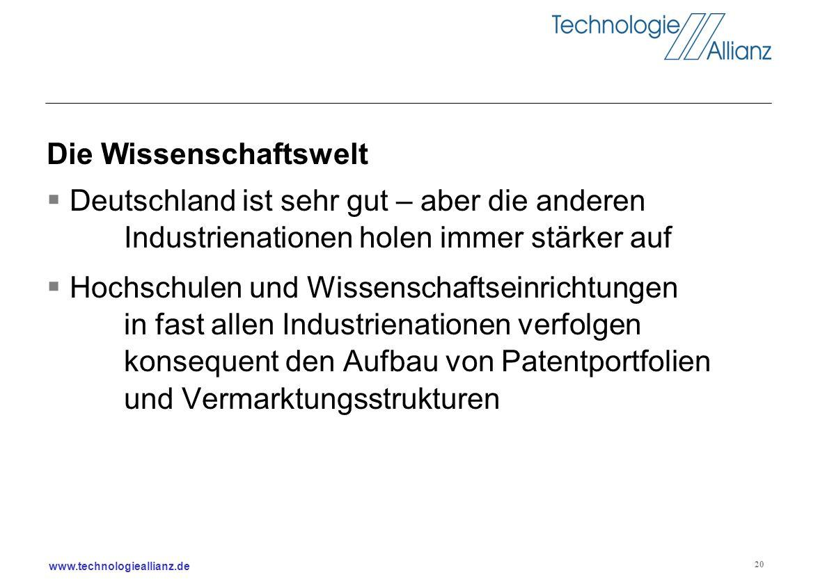 www.technologieallianz.de 20 Die Wissenschaftswelt Deutschland ist sehr gut – aber die anderen Industrienationen holen immer stärker auf Hochschulen u