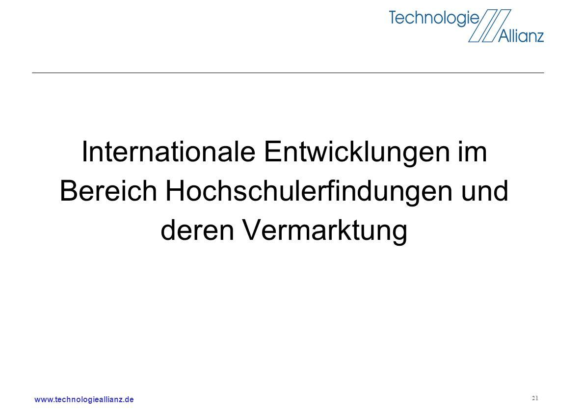 www.technologieallianz.de 21 Internationale Entwicklungen im Bereich Hochschulerfindungen und deren Vermarktung