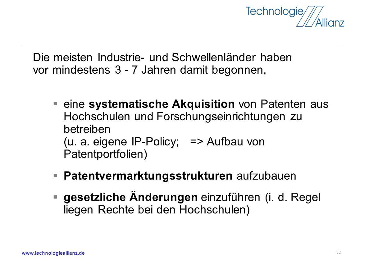 www.technologieallianz.de 22 Die meisten Industrie- und Schwellenländer haben vor mindestens 3 - 7 Jahren damit begonnen, eine systematische Akquisiti