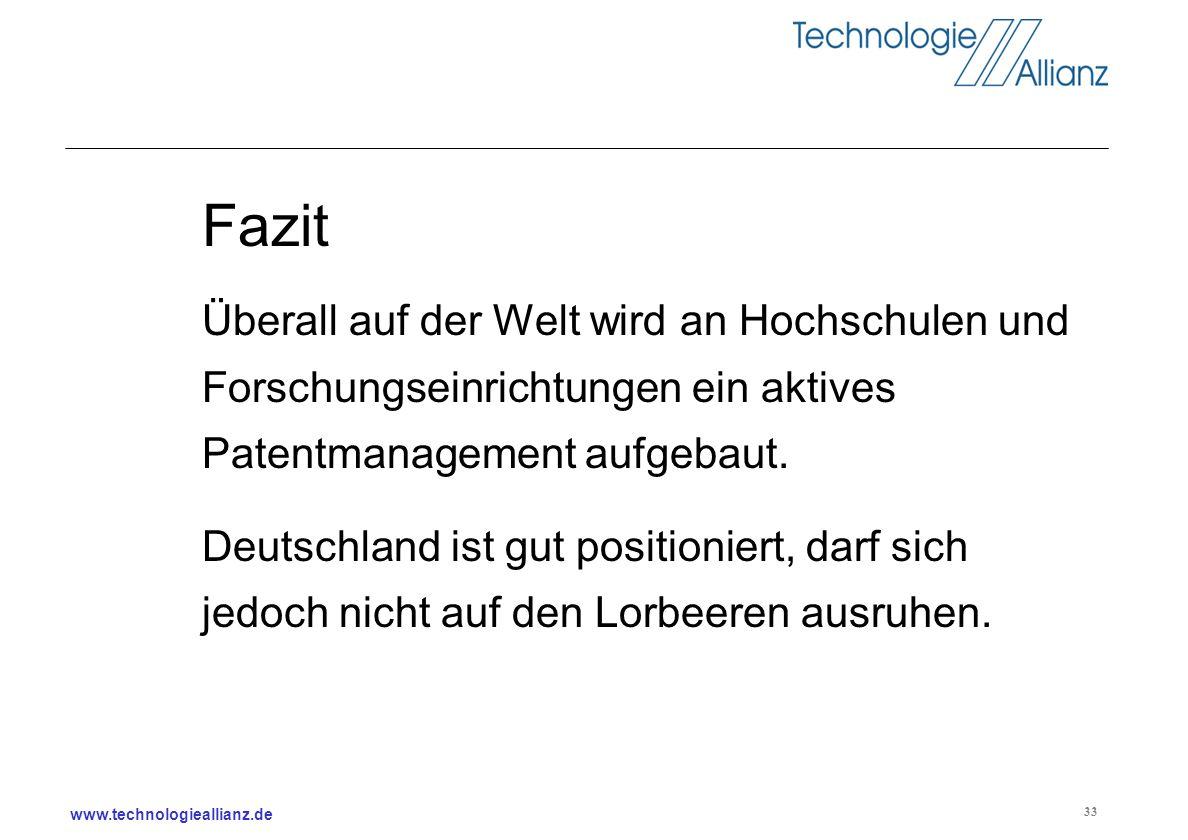 www.technologieallianz.de 33 Fazit Überall auf der Welt wird an Hochschulen und Forschungseinrichtungen ein aktives Patentmanagement aufgebaut. Deutsc