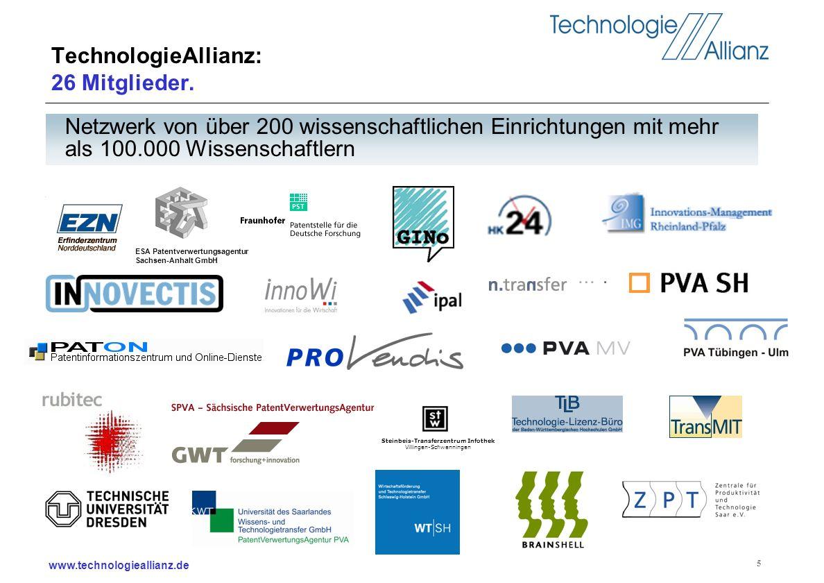 www.technologieallianz.de 5 TechnologieAllianz: 26 Mitglieder. Steinbeis-Transferzentrum Infothek Villingen-Schwenningen Netzwerk von über 200 wissens