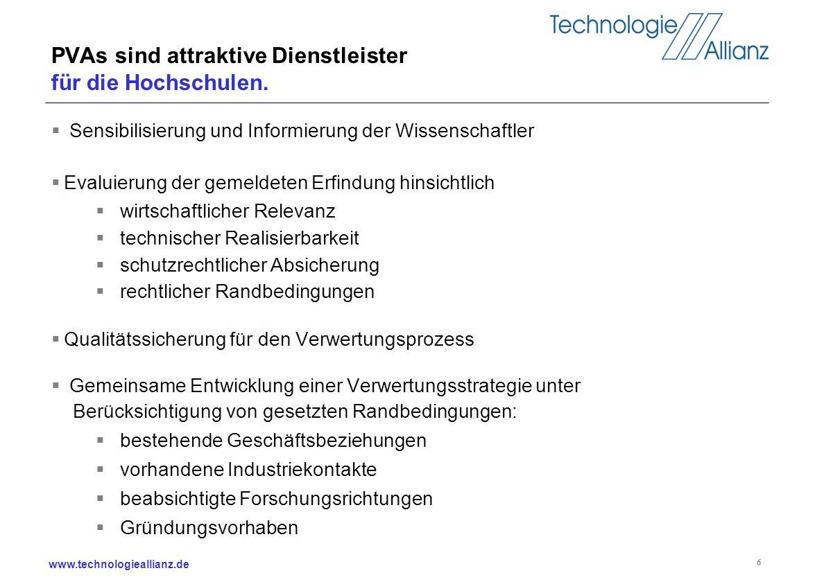 www.technologieallianz.de 6 PVAs sind attraktive Dienstleister für die Hochschulen. Sensibilisierung und Informierung der Wissenschaftler Evaluierung