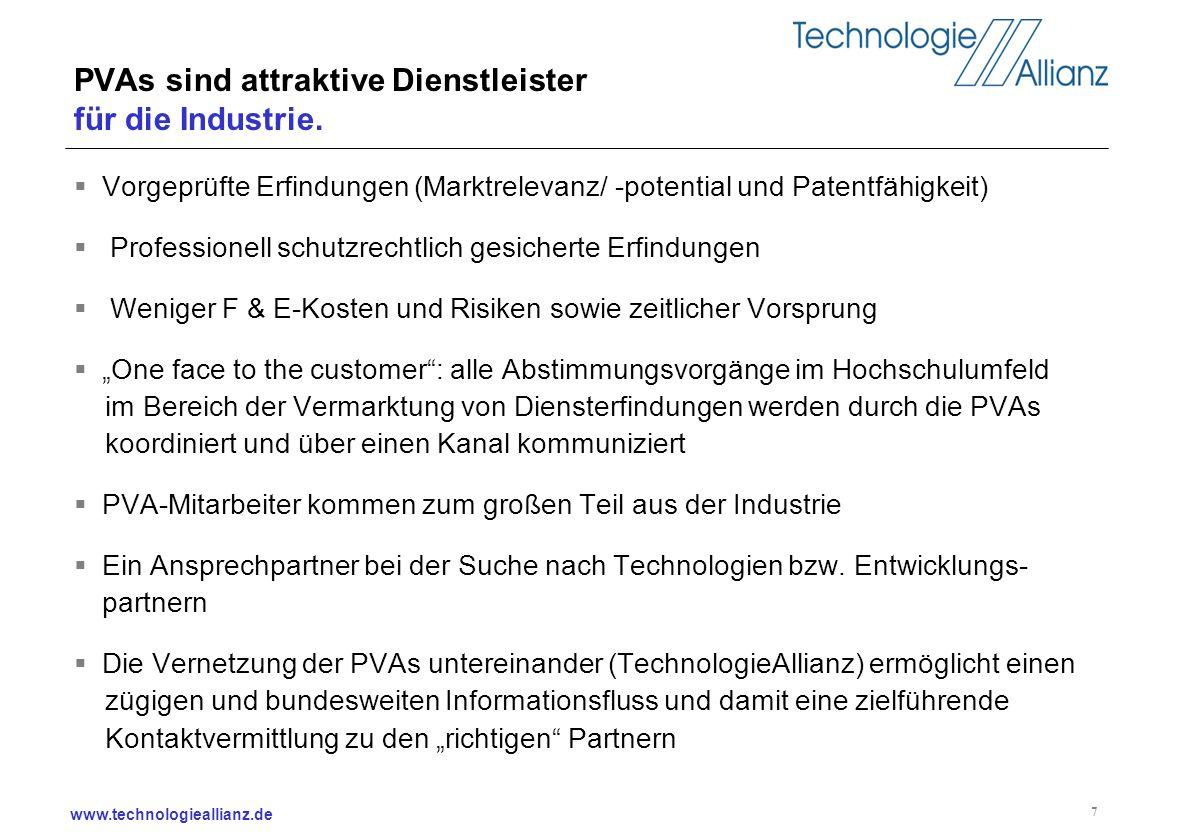 www.technologieallianz.de 7 PVAs sind attraktive Dienstleister für die Industrie. Vorgeprüfte Erfindungen (Marktrelevanz/ -potential und Patentfähigke