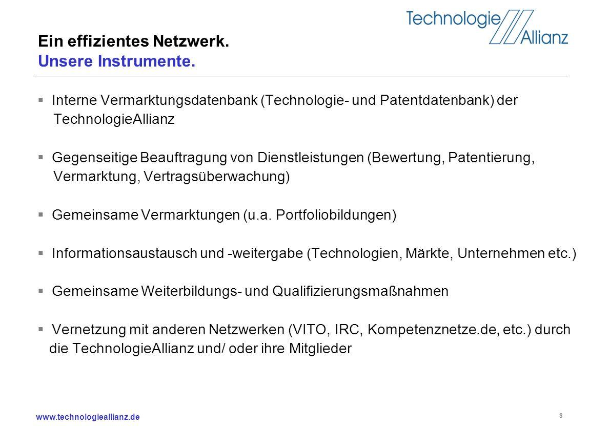 www.technologieallianz.de 8 Ein effizientes Netzwerk. Unsere Instrumente. Interne Vermarktungsdatenbank (Technologie- und Patentdatenbank) der Technol