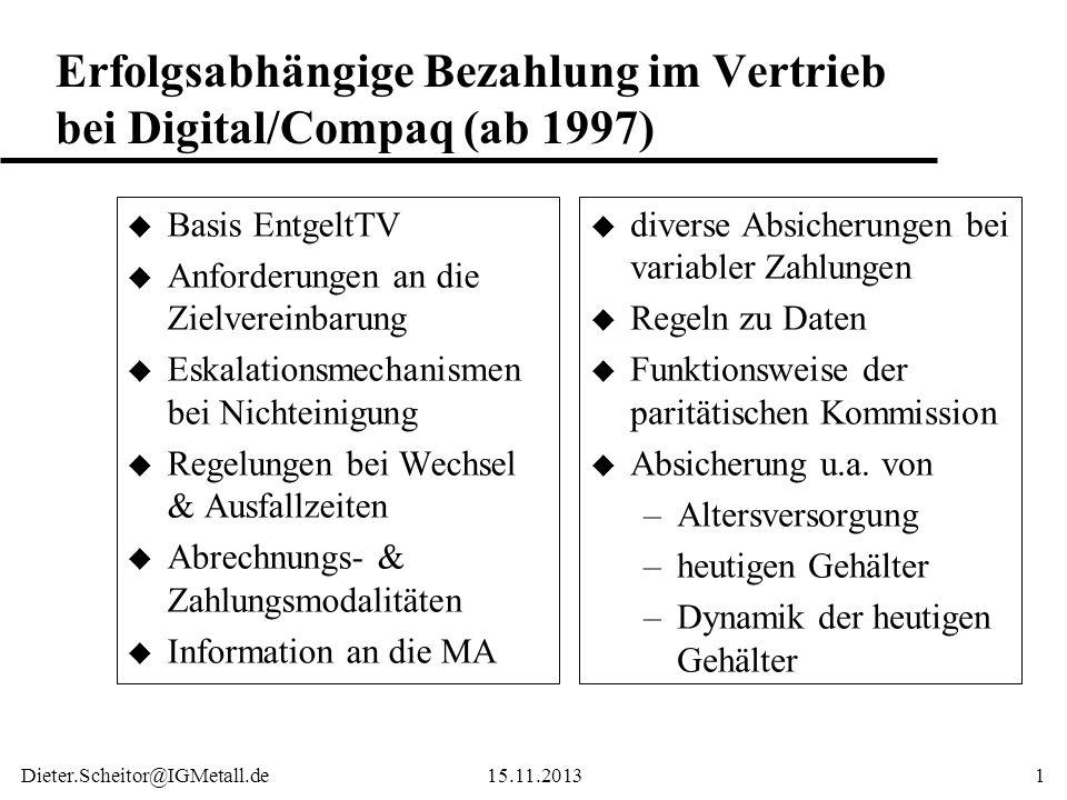 Dieter.Scheitor@IGMetall.de15.11.20131 Erfolgsabhängige Bezahlung im Vertrieb bei Digital/Compaq (ab 1997) u Basis EntgeltTV u Anforderungen an die Zi
