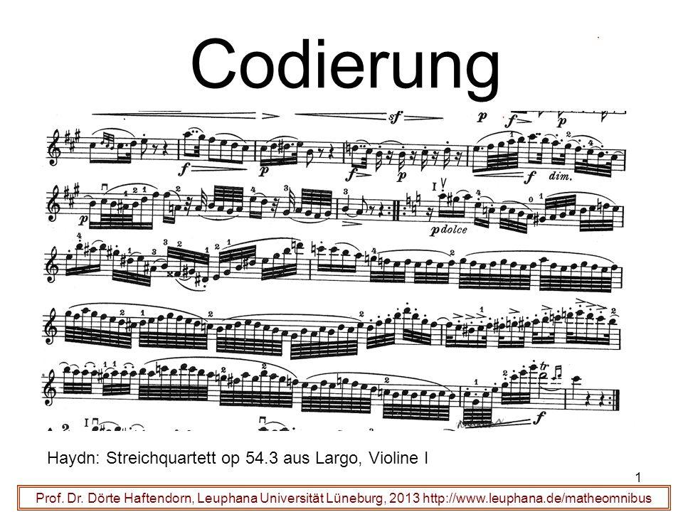 1 Codierung Prof. Dr. Dörte Haftendorn, Leuphana Universität Lüneburg, 2013 http://www.leuphana.de/matheomnibus Haydn: Streichquartett op 54.3 aus Lar
