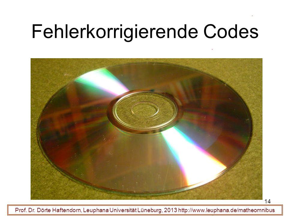 14 Fehlerkorrigierende Codes Prof. Dr. Dörte Haftendorn, Leuphana Universität Lüneburg, 2013 http://www.leuphana.de/matheomnibus