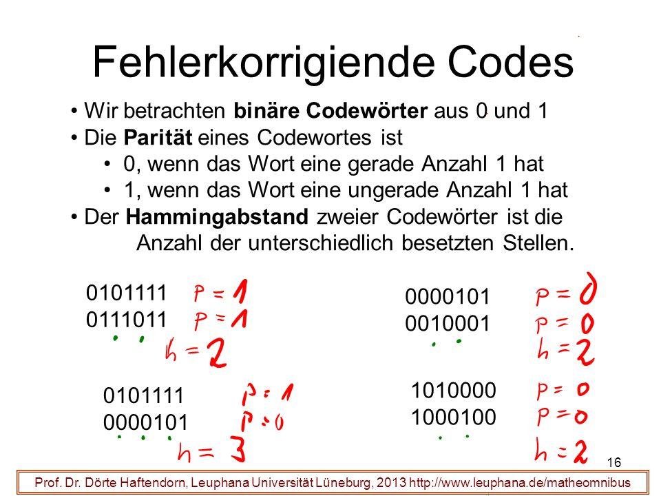 16 Fehlerkorrigiende Codes Prof. Dr. Dörte Haftendorn, Leuphana Universität Lüneburg, 2013 http://www.leuphana.de/matheomnibus Wir betrachten binäre C