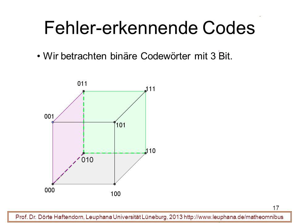 17 Fehler-erkennende Codes Prof. Dr. Dörte Haftendorn, Leuphana Universität Lüneburg, 2013 http://www.leuphana.de/matheomnibus Wir betrachten binäre C