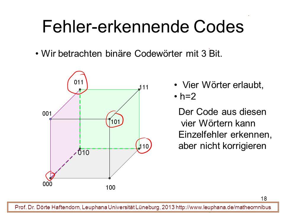 18 Fehler-erkennende Codes Prof. Dr. Dörte Haftendorn, Leuphana Universität Lüneburg, 2013 http://www.leuphana.de/matheomnibus Wir betrachten binäre C