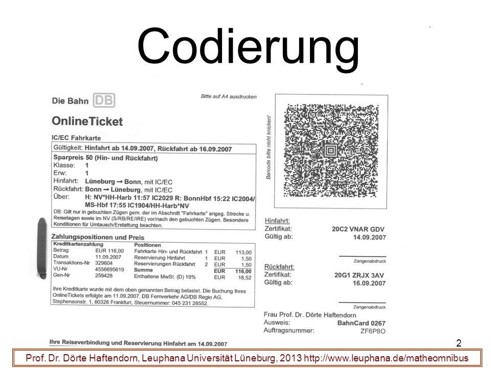 2 Codierung Prof. Dr. Dörte Haftendorn, Leuphana Universität Lüneburg, 2013 http://www.leuphana.de/matheomnibus