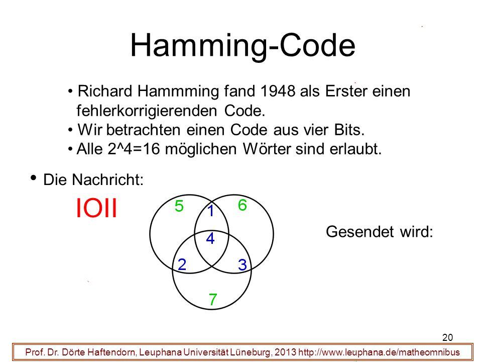 20 Hamming-Code Prof. Dr. Dörte Haftendorn, Leuphana Universität Lüneburg, 2013 http://www.leuphana.de/matheomnibus Richard Hammming fand 1948 als Ers