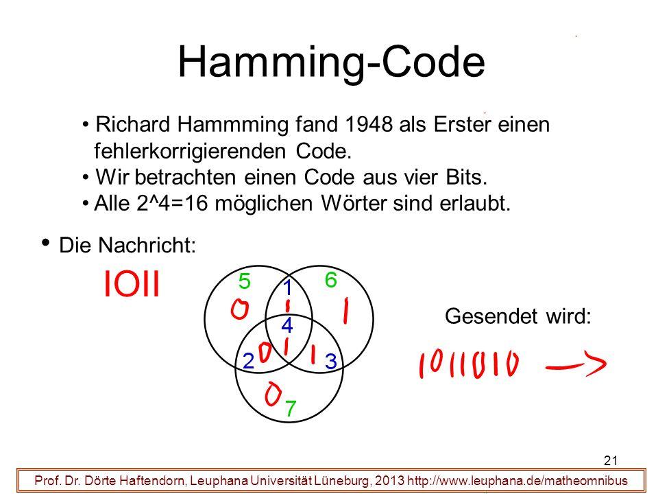 21 Hamming-Code Prof. Dr. Dörte Haftendorn, Leuphana Universität Lüneburg, 2013 http://www.leuphana.de/matheomnibus Richard Hammming fand 1948 als Ers