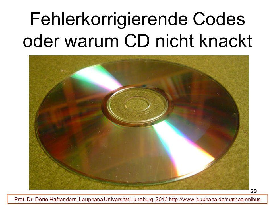 29 Fehlerkorrigierende Codes oder warum CD nicht knackt Prof. Dr. Dörte Haftendorn, Leuphana Universität Lüneburg, 2013 http://www.leuphana.de/matheom