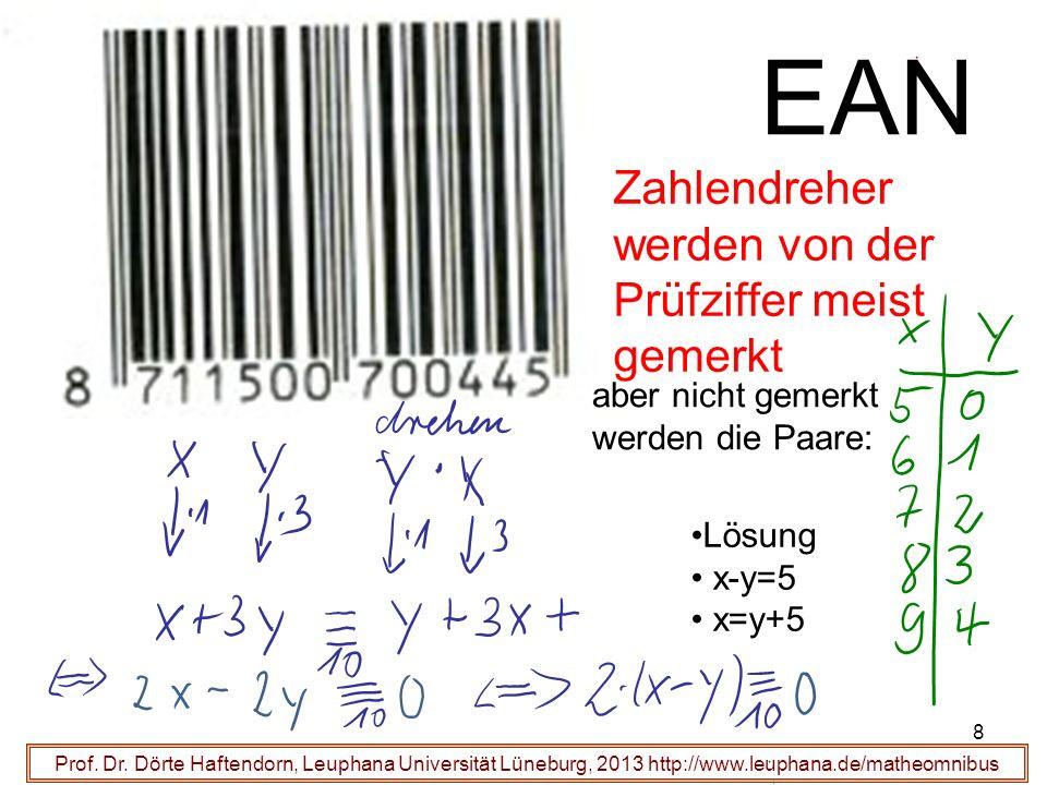 8 EAN Prof. Dr. Dörte Haftendorn, Leuphana Universität Lüneburg, 2013 http://www.leuphana.de/matheomnibus Zahlendreher werden von der Prüfziffer meist