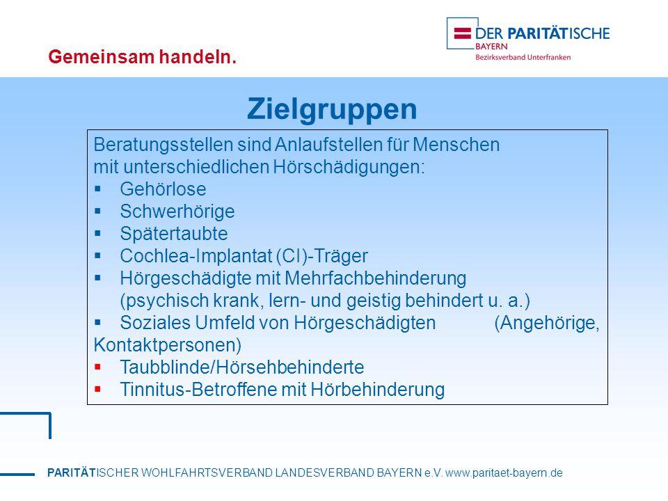 PARITÄTISCHER WOHLFAHRTSVERBAND LANDESVERBAND BAYERN e.V. www.paritaet-bayern.de Gemeinsam handeln. Zielgruppen Beratungsstellen sind Anlaufstellen fü