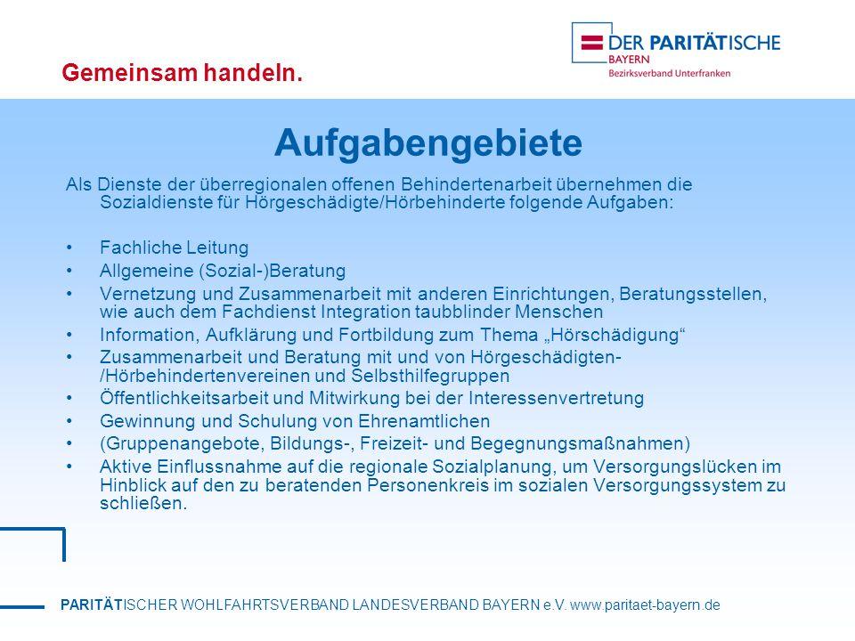 PARITÄTISCHER WOHLFAHRTSVERBAND LANDESVERBAND BAYERN e.V. www.paritaet-bayern.de Gemeinsam handeln. Aufgabengebiete Als Dienste der überregionalen off