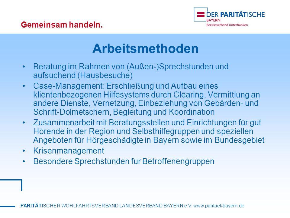 PARITÄTISCHER WOHLFAHRTSVERBAND LANDESVERBAND BAYERN e.V. www.paritaet-bayern.de Gemeinsam handeln. Arbeitsmethoden Beratung im Rahmen von (Außen-)Spr