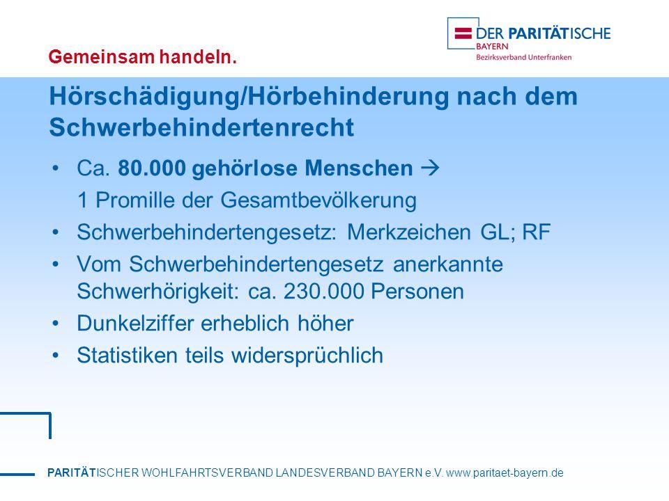PARITÄTISCHER WOHLFAHRTSVERBAND LANDESVERBAND BAYERN e.V. www.paritaet-bayern.de Gemeinsam handeln. Hörschädigung/Hörbehinderung nach dem Schwerbehind